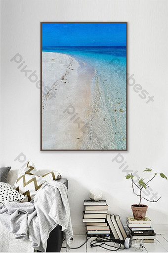 fresh shore sea waves drawing oil painting style decorative Decors & 3D Models Template TIF