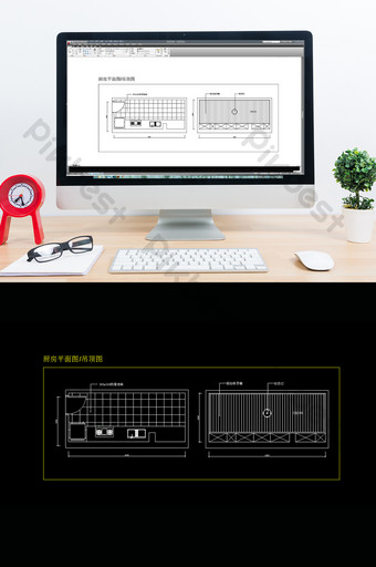 moda simple hogar cocina plan de piso techo dibujo cad Decoración y modelo Modelo DWG