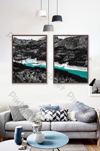 الشمال الأسود والأبيض سلسلة المناظر الطبيعية البحيرة الخضراء المياه اللوحة الزخرفية خلفية الجدار الديكور والنموذج قالب TIF