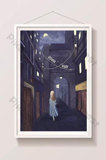 Fille fraîche marchant dans la nuit illustration de la couverture de la promotion de la rue Illustration Modèle PSD