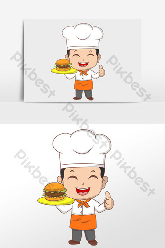 drawing fast food chef serving illustration elements PNG Images Template PSD
