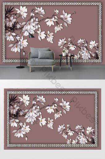 nuevo moderno marco tridimensional flor rama fondo pared Decoración y modelo Modelo PSD