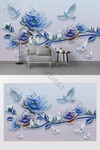 mode modern bunga peony dan dinding latar belakang tv burung Dekorasi dan model Templat PSD