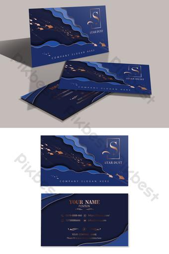 carte de visite bronzante en couches de poisson bleu foncé créative haut de gamme Modèle PSD