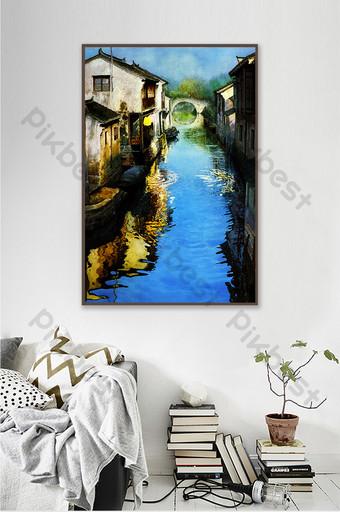 النمط الصيني النفط الطلاء قرية صغيرة البحيرة الزرقاء المياه الزخرفية خلفية الجدار الديكور والنموذج قالب TIF