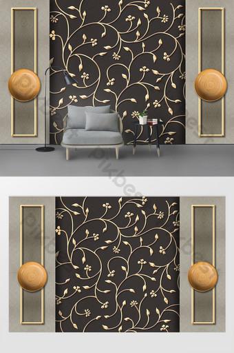 Pared de fondo decorativa de hierro forjado floral en relieve de metal tridimensional simple moderno Decoración y modelo Modelo PSD
