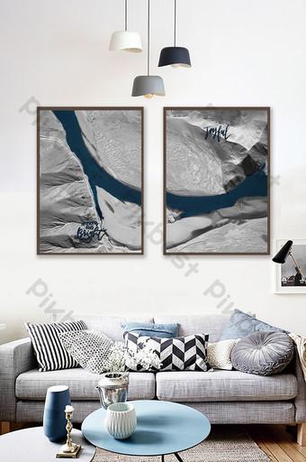 الشمال الأزرق بحيرة المياه الأسود والأبيض سلسلة اللوحة الزخرفية خلفية الجدار الديكور والنموذج قالب TIF