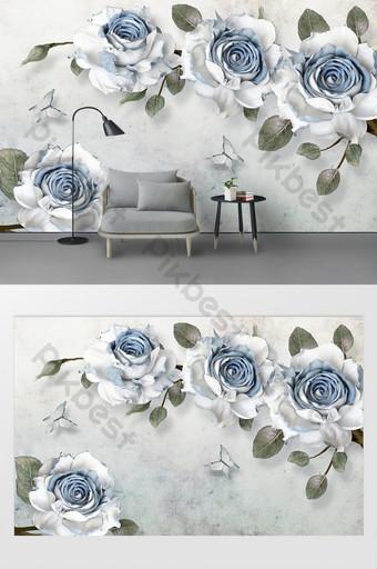 modern minimalis bunga mawar biru cabang dinding latar belakang timbul Dekorasi dan model Templat PSD