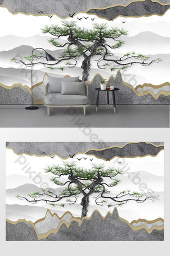 ثلاثي الأبعاد مجردة المعادن جسر صغير شجرة كبيرة جدارية خلفية الجدار الديكور والنموذج قالب PSD