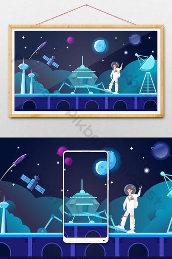 Cartoon flat astronaut set sail for space station technology concept illustration Illustration Template AI