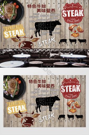 pared de fondo de olla caliente restaurante de carne de res gourmet retro Decoración y modelo Modelo PSD