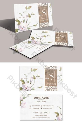 Carte de visite simple et élégante en bois sculpté floral Modèle PSD