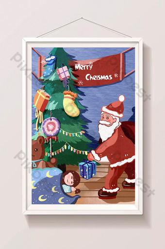 Nouvel An Noël Santa Claus Donne Des Cadeaux Carte Postale Arbre Carte De Vœux Illustration Modèle PSD