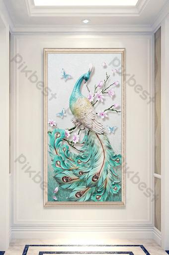 lukisan minyak modern bunga merak kupu-kupu teras dekoratif Dekorasi dan model Templat PSD