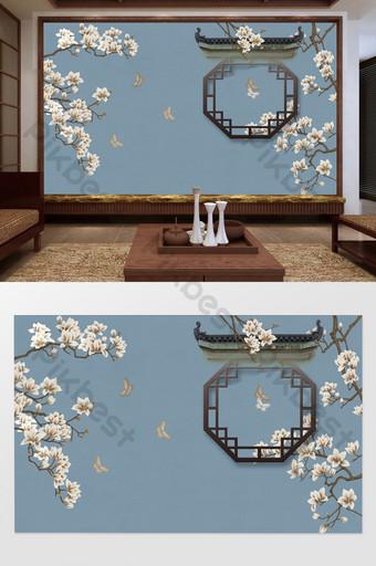 新中式古典三度屋簷漏水窗手繪樹枝花鳥背景牆 裝飾·模型 模板 TIF
