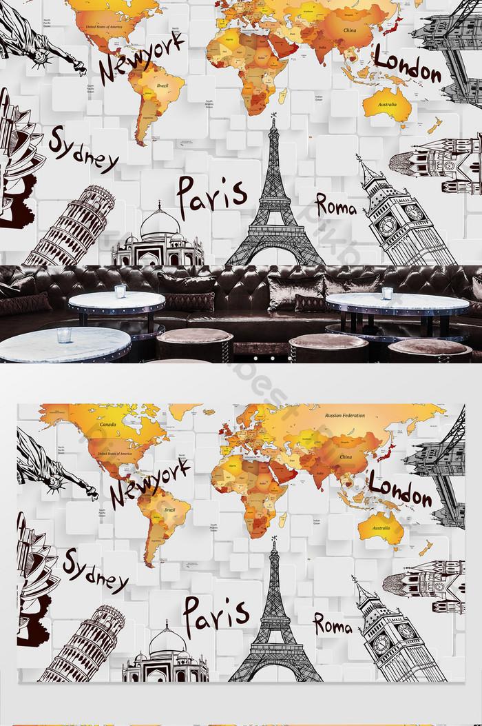 世界地標線描巴黎埃菲爾鐵塔背景牆