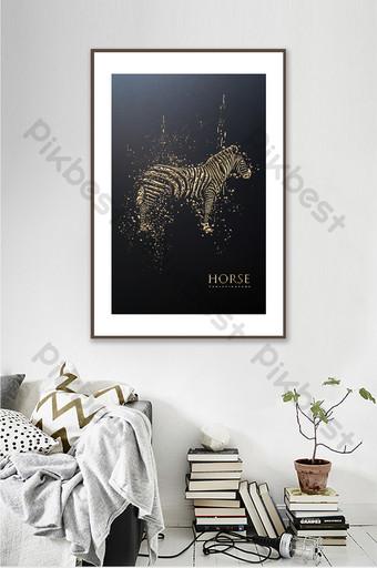 الشمال الإبداعية الذهب الأسود منحوتة الحصان غرفة المعيشة فندق زخرفة الحيوان اللوحة الديكور والنموذج قالب PSD