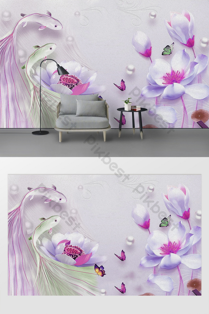 modern 3d magnolia lotus, pearl guppies, tv background wall