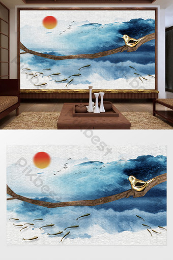 Chinese style blue landscape painting scroll embossed branches and birds swimming fish background wall Decors & 3D Models Template PSD