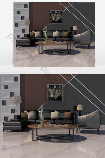 أريكة جلدية سوداء متعددة المقاعد وطاولة قهوة من الخشب الصلب الديكور والنموذج قالب MAX