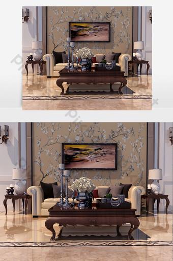 أريكة جلدية صفراء وردية متعددة المقاعد وطاولة قهوة بنية داكنة الديكور والنموذج قالب MAX