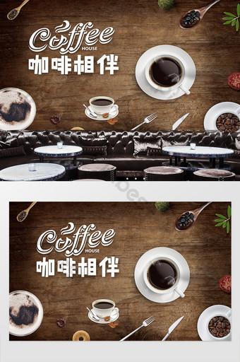 cafetería de madera tienda occidental restaurante fondo pared personalización Decoración y modelo Modelo PSD