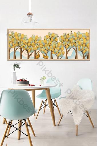 arte pequeñas plantas frescas y árboles sala de estar hotel pintura decorativa creativa Decoración y modelo Modelo PSD