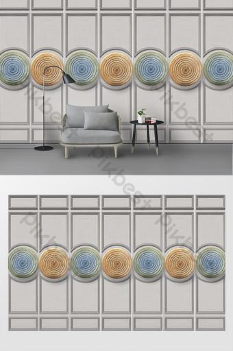 3d stereo abstrak lingkaran dekorasi dinding latar belakang tv Dekorasi dan model Templat PSD