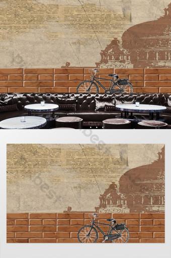 tablero de madera vintage amor nostálgico rueda fondo pared Decoración y modelo Modelo PSD