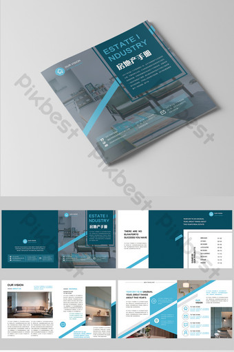 complete set of stylish light blue real estate home decoration brochure Template PSD