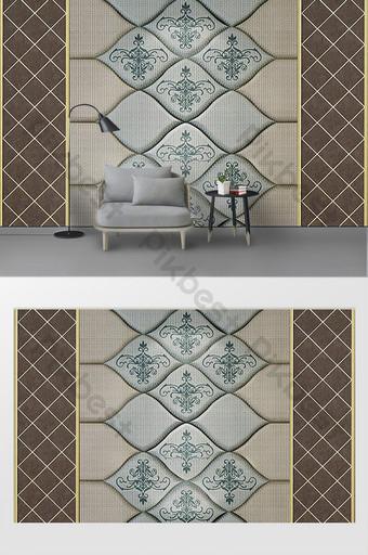 石膏線歐洲壓紋皮革軟包3d電視背景牆 裝飾·模型 模板 PSD