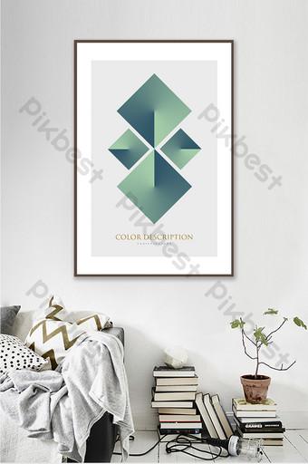 ما بعد الحداثة مجردة الإبداعية الهندسية الخضراء الداكنة غرفة المعيشة فندق الديكور اللوحة الديكور والنموذج قالب PSD