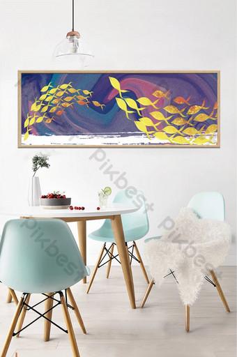 textura abstracta escuela de peces de colores azules pintura decorativa Decoración y modelo Modelo PSD