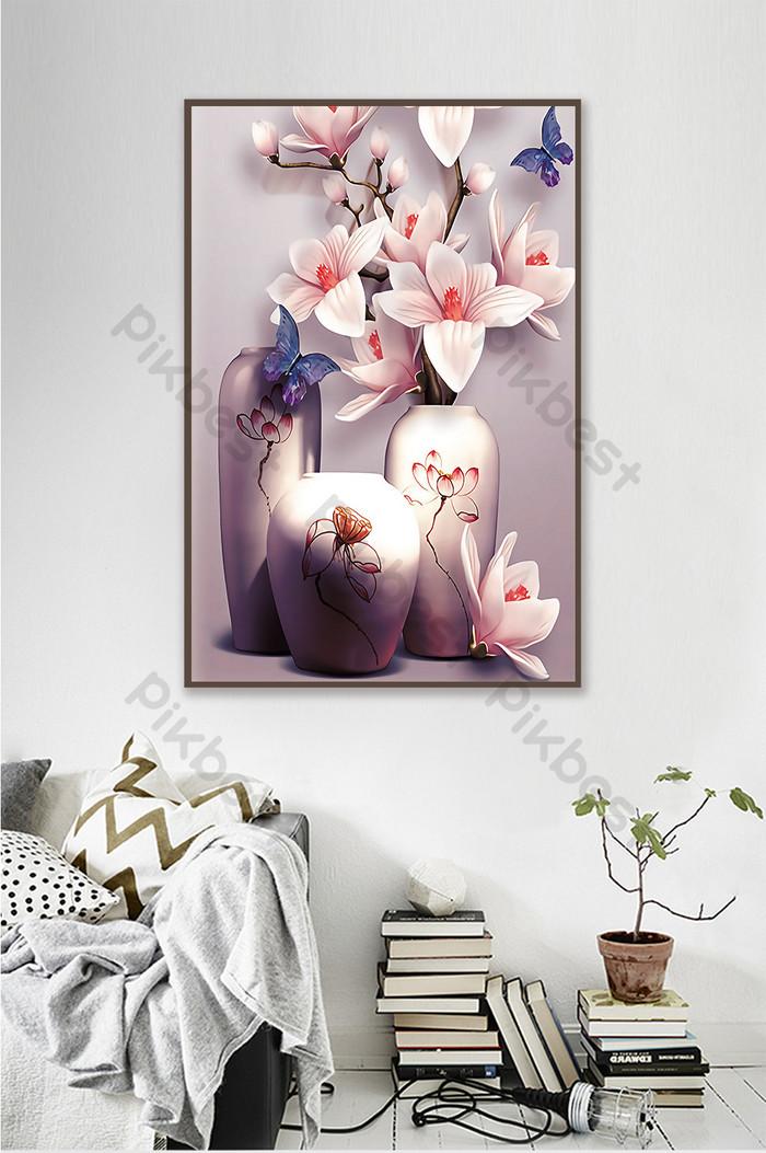 Скандинавская картина маслом ваза для цветов декоративный фон стена