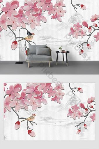 بسيطة الحديثة نمط الوردي زهرة فرع الطيور خلفية التلفزيون جدار مخصص الديكور والنموذج قالب PSD