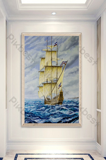 modern drawing art sea smooth porch decorative painting Decors & 3D Models Template PSD