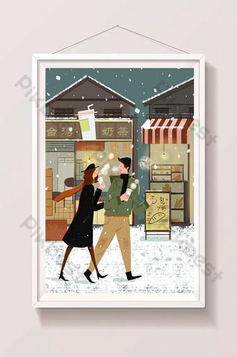 impresiones frescas nieve pesada cálida calle pareja ilustración Ilustración Modelo PSD