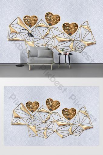 現代3d書房臥室創意網格書架形狀背景牆 裝飾·模型 模板 PSD