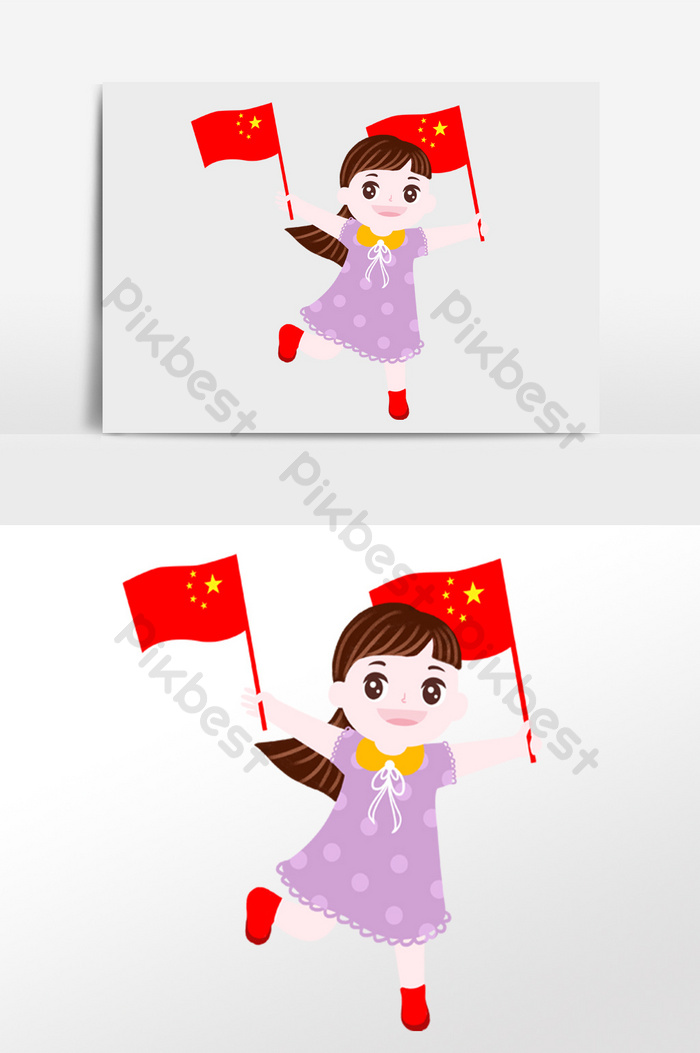 Cute Cartoon National Day Girl Holding A Flag Illustration Background Character Illustration Psd Free Download Pikbest