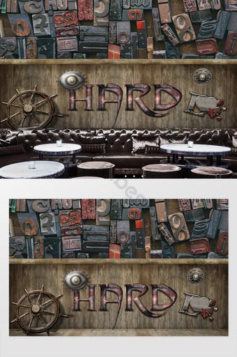 Vinilo Pixerstick Fondo de mezcla y combinación de estilo industrial estéreo retro, Papel pintado Decoración y modelo Modelo PSD