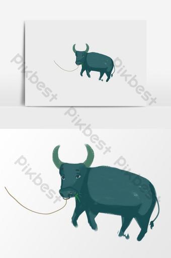 elemen ilustrasi kerbau kartun yang digambar tangan Ilustrasi Templat PSD