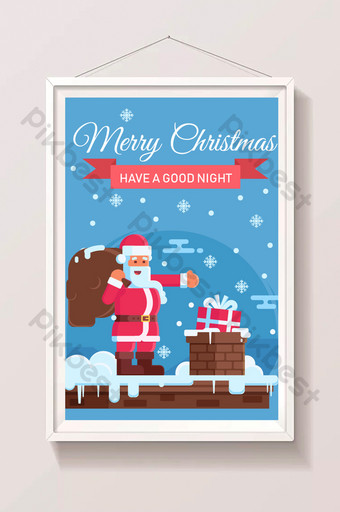 dibujos animados de víspera de navidad santa claus poniendo regalos en la chimenea Ilustración Modelo AI