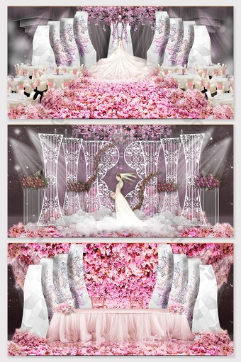 الوردي رومانسي إزهار الكرز موضوع الزفاف تأثير الصورة الديكور والنموذج قالب PSD