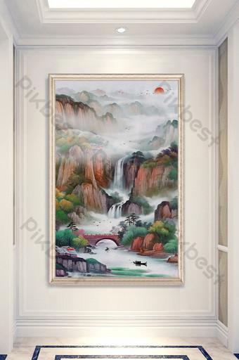 estilo chino sol naciente del este agua corriente haciendo dinero paisaje pintura al óleo decoración de entrada Decoración y modelo Modelo TIF