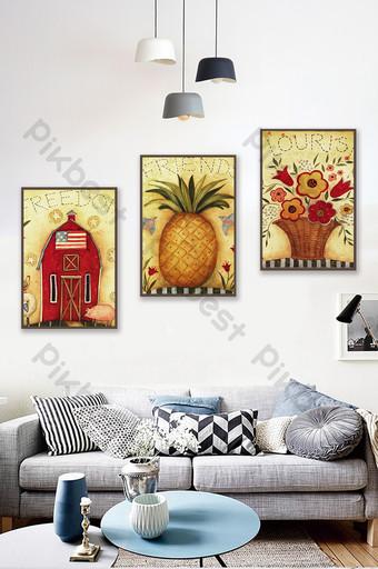 الشمال مجردة النفط اللوحة الفاكهة منزل زهرة ديكور خلفية الجدار الديكور والنموذج قالب TIF