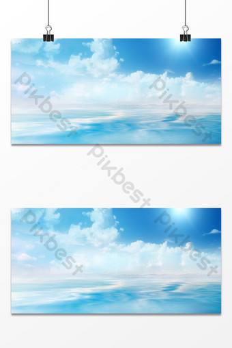 Blue sky sea natural background Backgrounds Template PSD