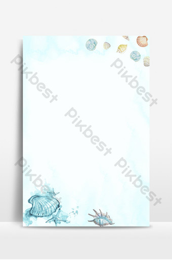cold tones drawing watercolor seashell background Backgrounds Template PSD