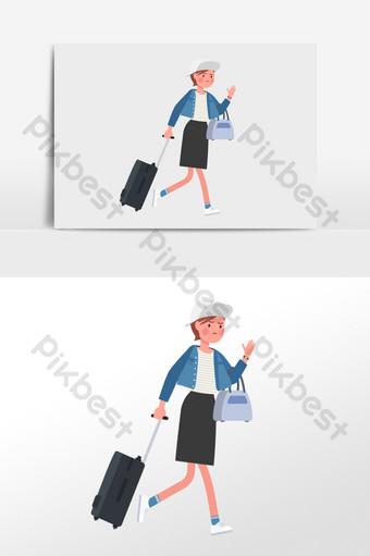 Ilustración de vector plano de una chica deportiva con gorra de béisbol con maleta Ilustración Modelo AI