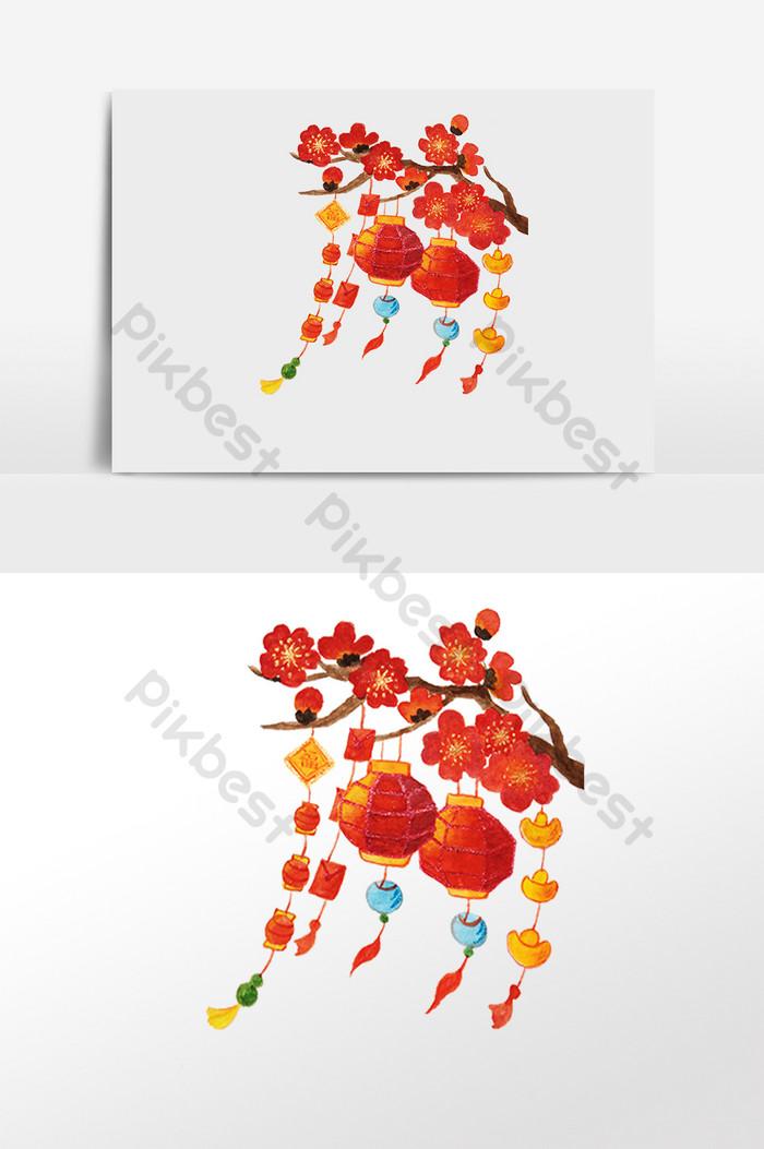 手描きの中国の旧正月飾り提灯イラスト要素 グラフィック要素の