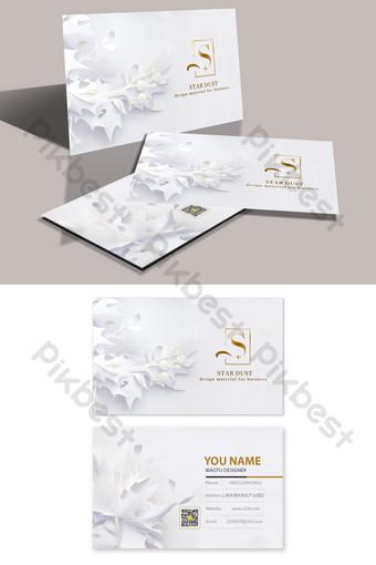 Carte de visite blanche élégante découpée en papier fleur en trois dimensions Modèle PSD